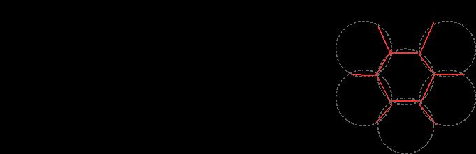 丸い巣は隣り合うことで接点が平面になる。